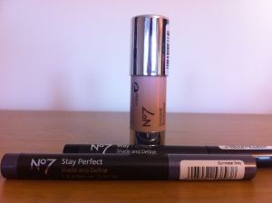 No7 Instant Radiance highlighter and Stay Perfect Shade and Define in black shimmer and gunmetal grey.