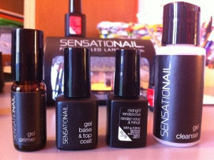 Items needed in order. L-R Gel primer, clear base/top coat, colour, gel cleanser.